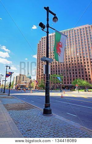 Benjamin Franklin Parkway In The City Center Of Philadelphia