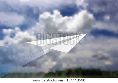 vector illustration of the paper plane flying over landscape with clouds