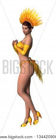 3D Rendering Showgirl On White
