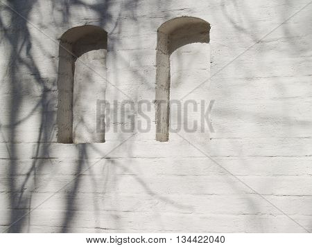 Beautiful textured plastered surface of a brick facade with two nichesl with spring branches shadow on it
