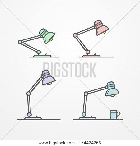 Collection of flexible table lamps in line style. Four typical flat lamps. Set of isolated lamps on a table. Table lamp vector stock illustration.