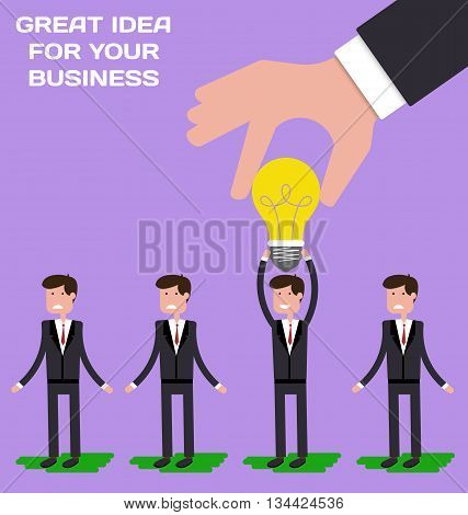 Hand choosing worker who has idea from group of businessmen. Recruitment concept. Hand holding light bulb. Vector illustration in flat style