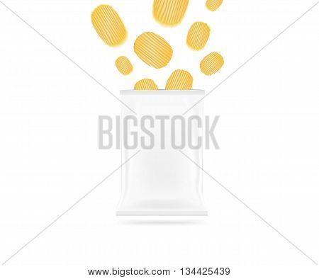 Blank chips bag mock up isolated. Clear white potato chip pack mockup 3d illustration. Crackers crisps flying supermarket foil plastic container ready for logo design or identity presentation.