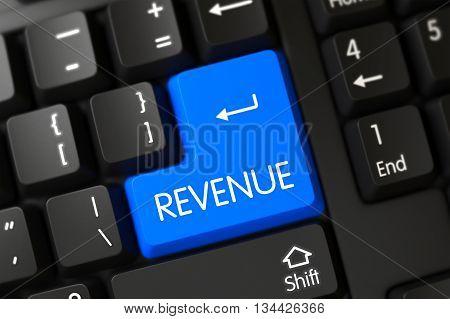 Revenue on Modern Laptop Keyboard Background. Black Keyboard Button Labeled Revenue. Revenue Button. Revenue Key on Modern Laptop Keyboard. 3D Illustration.