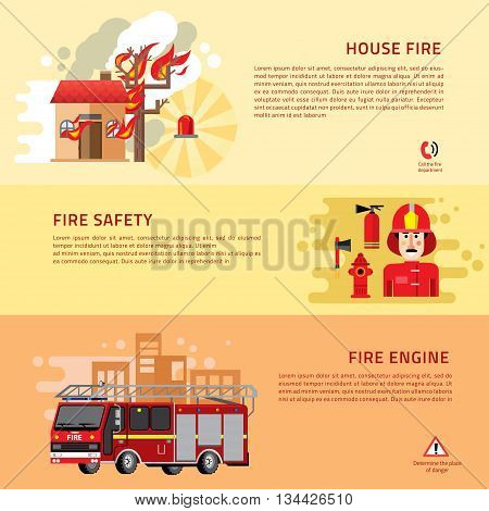 Firefighters 3 flat horizontal banners webpage for information on fire alarm in building. flat icons composition abstract isolated vector illustration