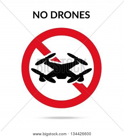 No drones sign. Drone flights limitations in public places parks and areas. Vector illustration symbol