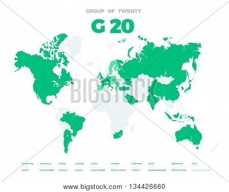 Group of Twenty countries on world map vector template. G20 infographic design illustration