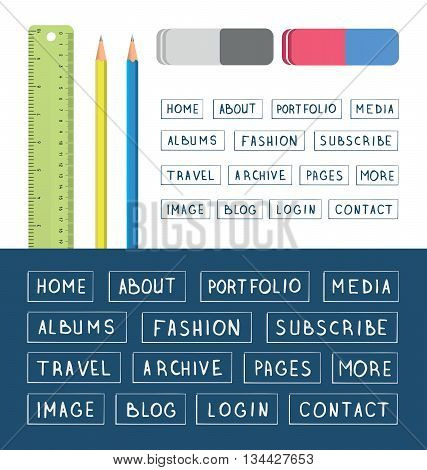Hand drawn buttons. Template for design websites apps and interface. Menu navigation bars collection. Set of stationery tools: ruler pencil eraser. School supplies. Vector illustration