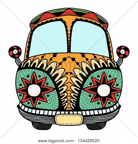 Vintage car a mini van in zentangle style. Hand drawn image. The popular bus model in the environment of the followers of the hippie movement. Vector illustration.