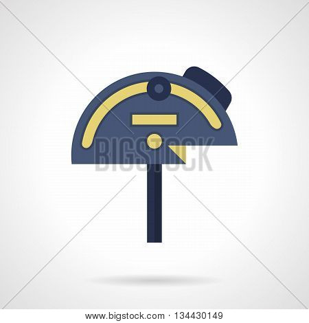 Blue mechanical protractor with yellow elements. Tool for measure angles. Measuring equipment, devices and instruments for construction, engineering, education. Flat color style vector icon.
