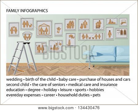 Set of Family Infographic Elements. Illustrations and Information Graphics