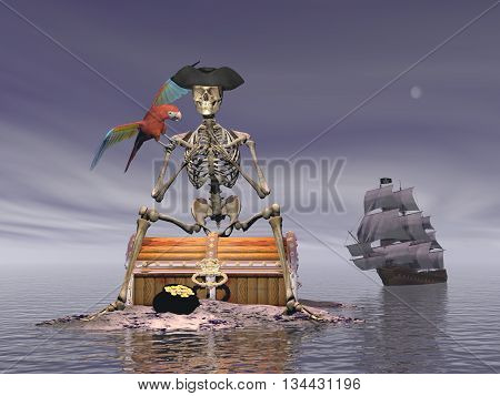 Skeleton pirate sitting on a treasure chest with its parrot by night with ship behind on the ocean - 3D render