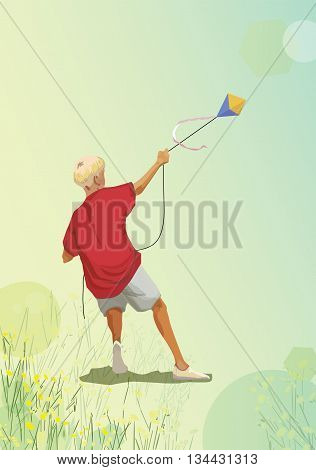 Vector illustration of a boy with kite