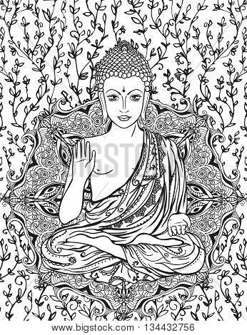 Ornament beautiful card with Buddha. Geometric element hand drawn. Medallion, yoga, india, arabic, lotus Buddha, was a sage on whose teachings Buddhism was founded. awakened one or the enlightened one poster