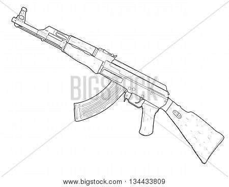 Weapon AK 47 drawing design - vector illustration.