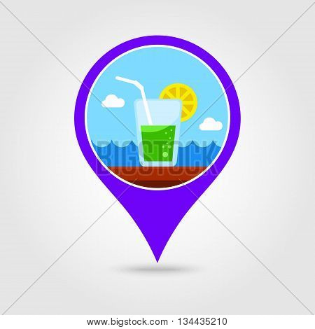 Cocktail vector pin map icon. Beach Map pointer. Summer Map markers. Holiday. Summertime. Vacation eps 10