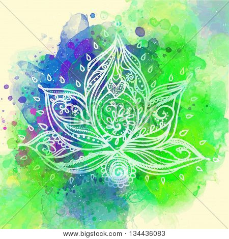 Ornamental Boho Style lotus Flower. Geometric element hand drawn.Cards for the design and illustrations, postcards banners, prints, clothing, wallpaper. Design Stroud yoga. medallion india, arabic, om