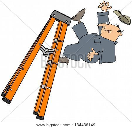 Illustration of a man wearing coveralls and falling off a stepladder.