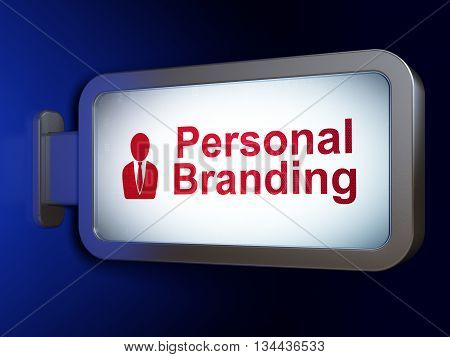 Advertising concept: Personal Branding and Business Man on advertising billboard background, 3D rendering