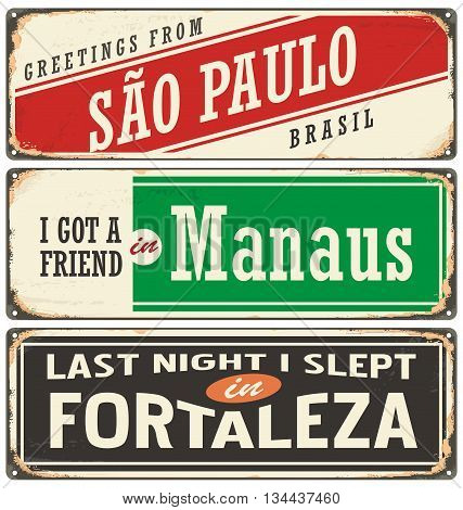 Retro tin sign collection with Brazil city names. Vintage vector souvenir sign or postcard templates. Travel theme. Places to visit and remember. poster