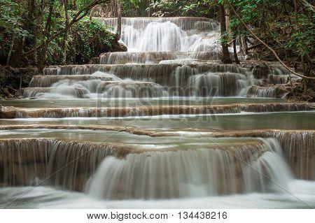 waterfall in Thailand Kanjanaburi (Huay Mae Kamin)