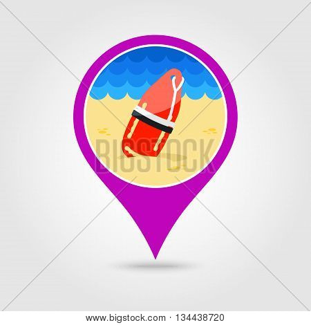 Support help and assistance with torpedo rescue lifeguard buoy vector pin map icon. Beach Map pointer. Summer Map markers. Holiday. Summertime. Vacation eps 10 poster