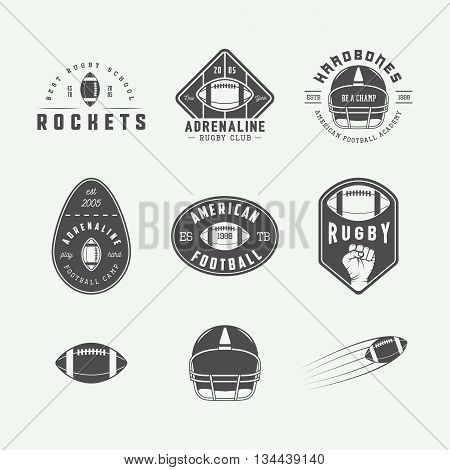 Set of vintage rugby and american football labels emblems and logo. Graphic Design. Vector illustration