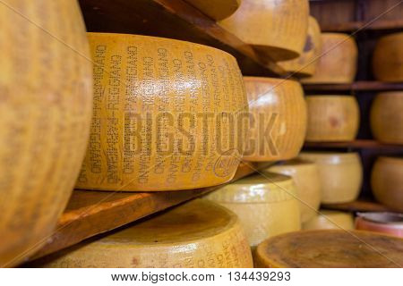 Florence, Italy - September 19, 2015: Close up of typical Italian hard Parmesan cheese on the shelves