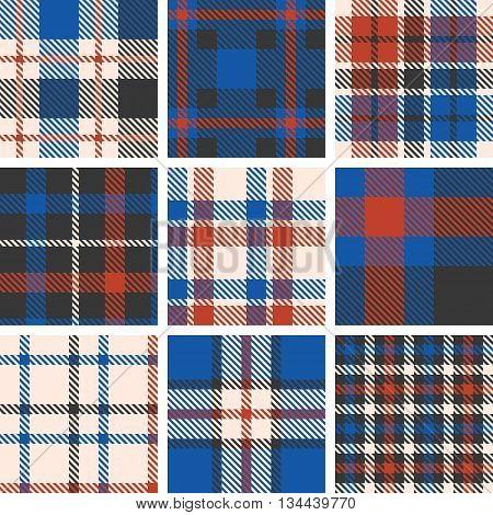 set of tartan seamless pattern, checkered pattern, plaid pattern, vintage style set 4