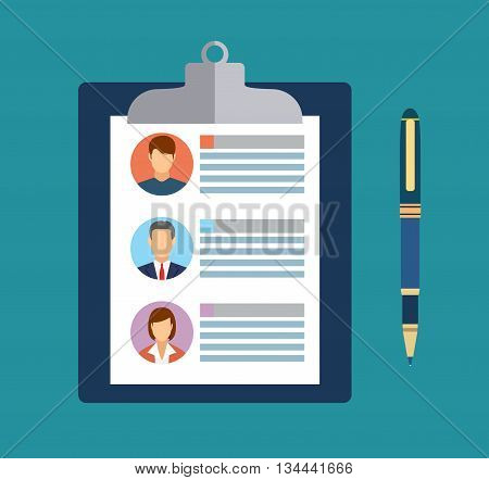 Human resources management concept, searching professional staff, analyzing resume papers, work. clipboard with resume papers and pen. vector illustration in flat design