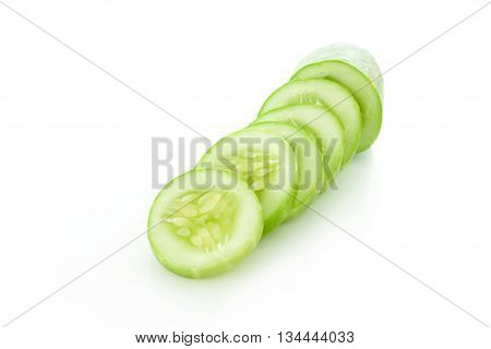 Cucumber slices isolaed on a  white background