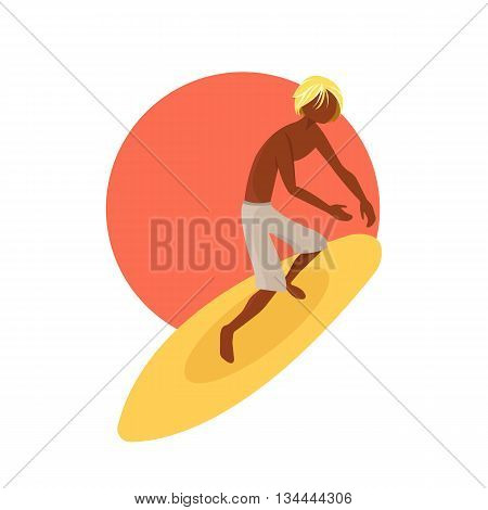 Surfer boy riding a surfboard. Flat vector illustration.