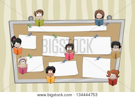 Cartoon student children reading books over a big board with papers. Push pins and paper stickers.
