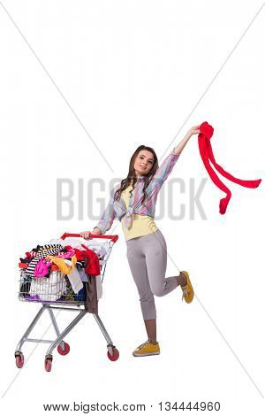 Woman after buying second hand clothing on white