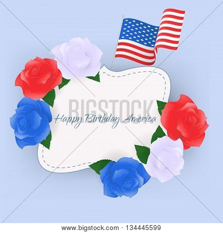 Happy Birthday America greeting card. Independence day/4th july.