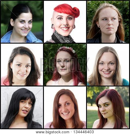 collection of 9 different caucasian women ranging from 18 to 30 years