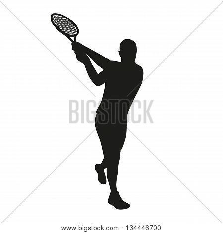 Tennis player vector silhouette backhand, isolated tennis playes silhouette