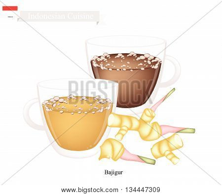 Indonesian Cuisine Bajigur or Traditional Hot Sweet Coffee with Ginger and Coconut Milk. One of The Most Popular Beverage in Indonesia.