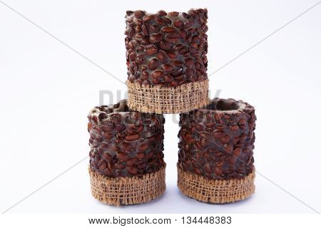 Coffee candles on a white background photo for micro-stock