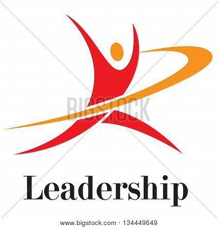 Vector illustration. Leadership concept running to opportunities. Growing leadership success leadership businessman opportunities leader worker.