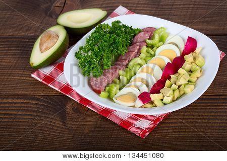 Traditional American Cobb Salad - Colorful entree salad with salami eggs and avocado