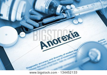 Anorexia, Medical Concept with Selective Focus. Anorexia, Medical Concept with Pills, Injections and Syringe. Anorexia - Printed Diagnosis with Blurred Text. 3D.