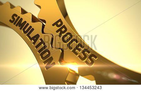 Process Simulation Golden Metallic Gears. Process Simulation on the Mechanism of Golden Metallic Gears with Glow Effect. Process Simulation - Concept. 3D.