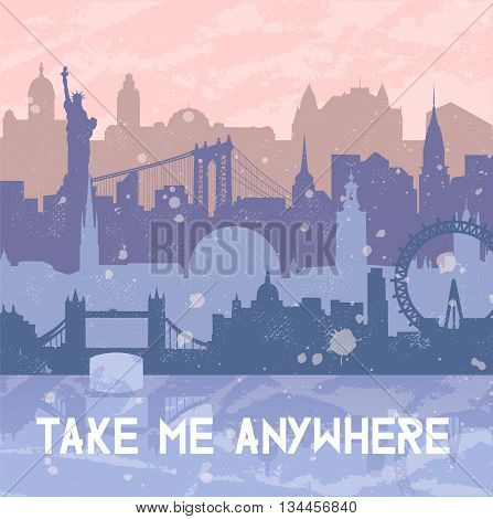 Vector background about travel and cities. Silhouettes of big cities such as New York London Stockholm. Grunge hand drawn look. Rose Quartz and serenity colors. Travel urban poster.