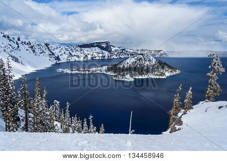 Wizard Island In Caldera Lake In Crater Lake National Park, Oregon,  Usa