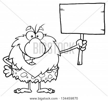 Black And White Happy Male Caveman Cartoon Mascot Character Holding A Wooden Board