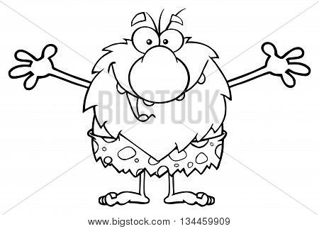 Black And White Smiling Male Caveman Cartoon Mascot Character With Open Arms For A Hug