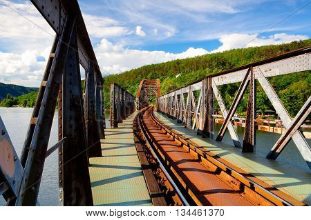 Single track railway bridge over the Vltava river Czech Republic - HDR Image