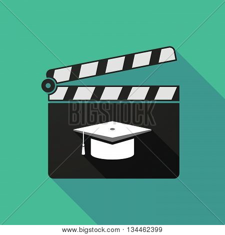 Long Shadow Clapperboard With A Graduation Cap