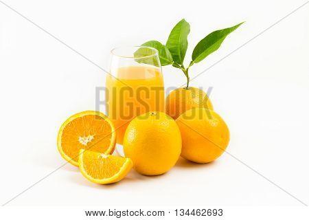 Orange Juice And Oranges Fruit Isolated On White Background